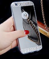 Зеркальный серебряный силиконовый чехол со стразами для Iphone 6 6S, фото 1