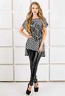 Женская футболка свободного кроя Джина цвет серый полоска, размер 44-54