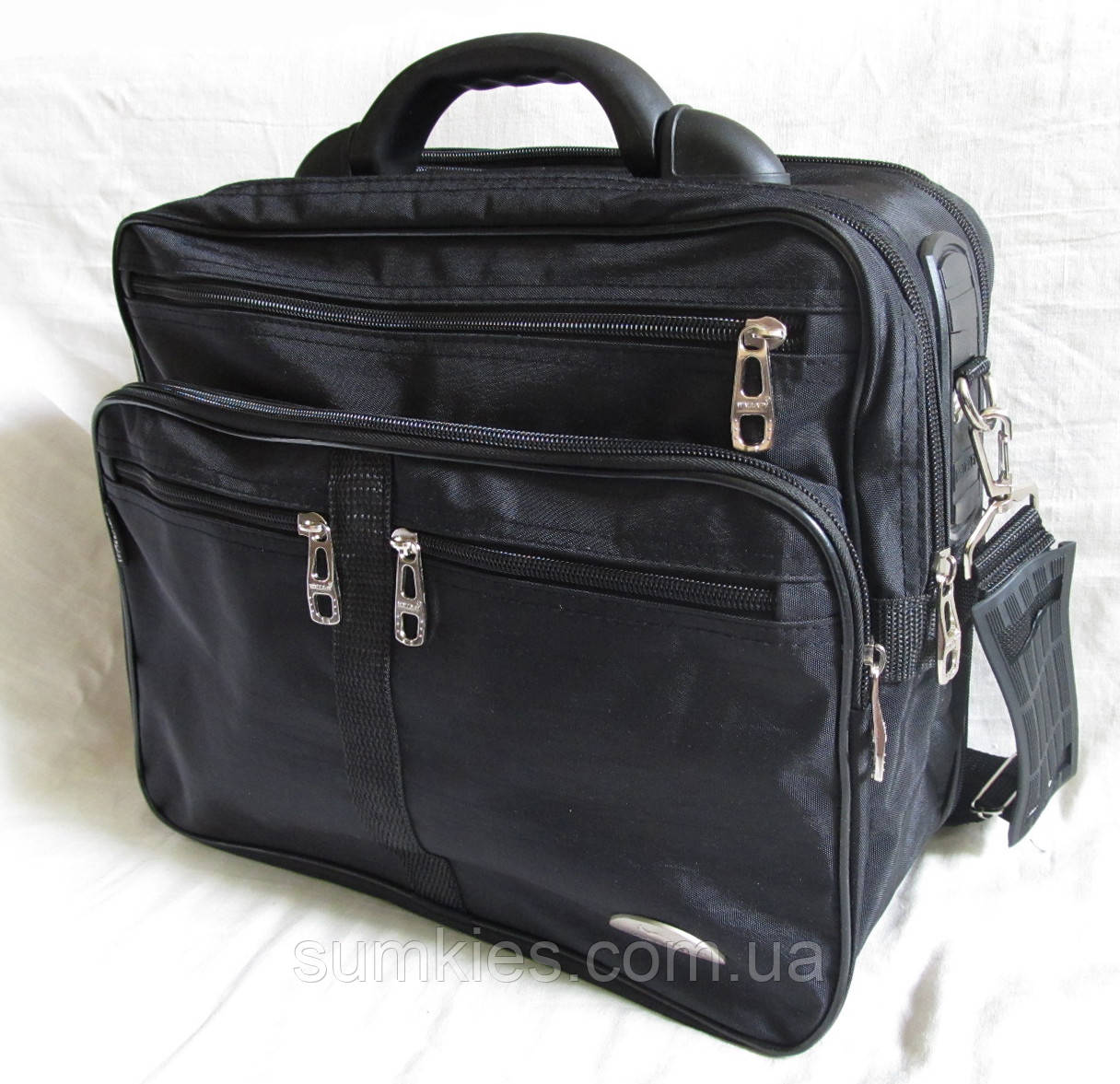 e976182b573a Мужская сумка Wallaby 25275 черная полукаркасная с расширением через плечо  папка портфель А4 35х29х20+3см