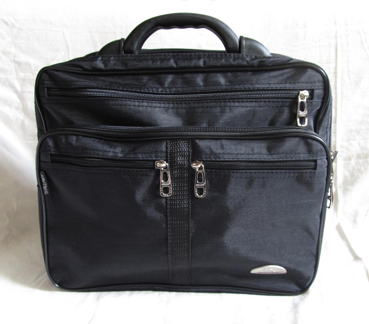 51b2cbf433da Мужская сумка Wallaby 25275 черная полукаркасная с расширением через плечо  папка портфель А4 35х29х20+3см ...