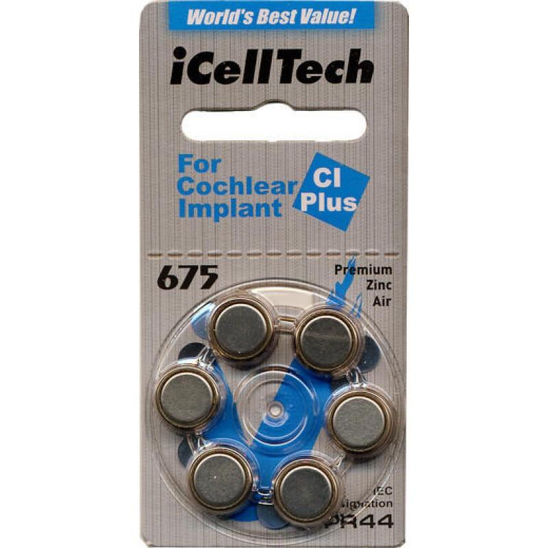 Батарейки для слухового аппарата IcellTech 675CL Plus ( кохлеарных имплантатов)