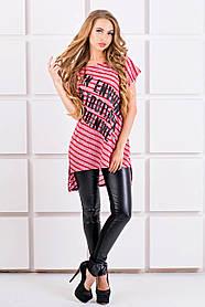Женская футболка свободного кроя Джина цвет бордо полоска, размер 44-54