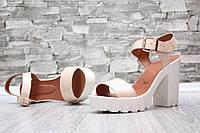 Женские босоножки кожаные на каблуке цвет пудра, 36-40рр.