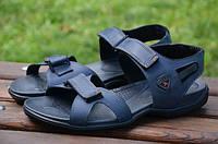 Мужские кожаные сандалии Ecco 12134 темно-синие
