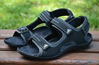 Мужские кожаные сандалии Adidas 12136 черные