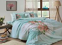 Двуспальное евро постельное белье TAC Florence Mint Ранфорс