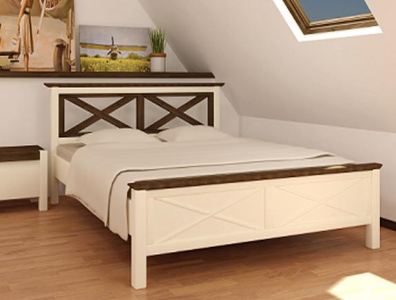 Кровать двуспальная из массива сосны  Нормандия Микс мебель, цвет  ваниль + темный орех
