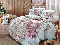 Двуспальное евро постельное белье TAC Livia Blue Ранфорс