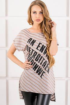 Женская футболка свободного кроя Джина цвет бежевый полоска, размер 48,52