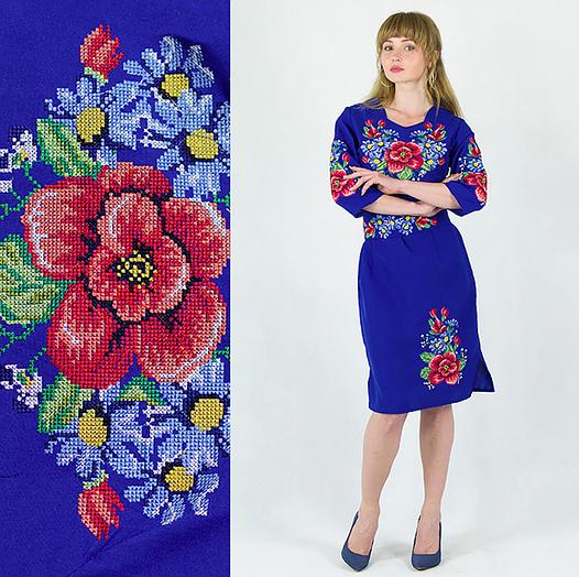 Сукня вишиванка - Мальва з васильками