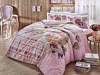 Двуспальное евро постельное белье TAC Livia Pink Ранфорс