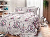 Двуспальное евро постельное белье TAC Selina Lilac Ранфорс