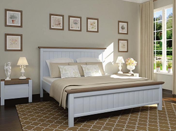 Кровать двуспальная из массива сосны  Беатрис Микс мебель, цвет  ваниль + темный орех