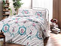 Двуспальное евро постельное белье TAC Selina Turquoise Ранфорс