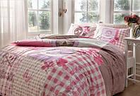 Двуспальное евро постельное белье TAC Lavinia Pink Ранфорс