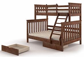 Двухъярусная семейная кровать с ящиками  из массива сосны Скандинавия Микс мебель, цвет на выбор, фото 2