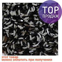 Резинки для плетения Loom Bands, черно-белые четвертинки 200 шт. /  Резинки для плетения браслетов