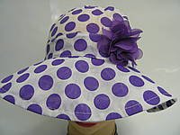 Шляпа - крупный сиреневый горошек, фото 1