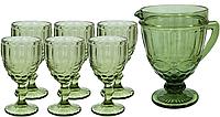 Набор бокалов с графином Винтаж зеленый, 300 мл ( 6 бокалов и графин )