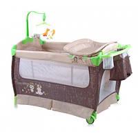 Манеж-кровать Bertoni SLEEP'N'DREAM (beige buddies), пеленатор, дуга с игрушками