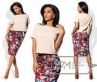 Костюм  женский  прямая блузка с коротким рукавом и принтованная юбка-карандаш раз. 42,44,46