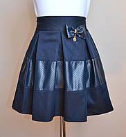 Детская школьная юбка для девочки синего цвета, фото 1