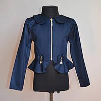 Детский пиджак, для девочек, школьный, темно-синий