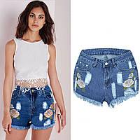Синие джинсовые шорты бойфренды с высокой талией и вышивкой спереди