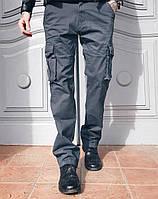 Джинсы Iteno 1672-7 карго серые мужские