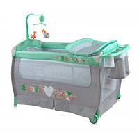 Манеж-кровать Bertoni SLEEP'N'DREAM (green&grey snail), пеленатор, дуга с игрушками