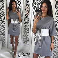 Платье-туника трикотажное с широким поясом 3 цвета 2SMmil1474