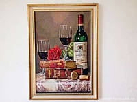 Гобелен в раме Натюрморт с вином 60*40 см