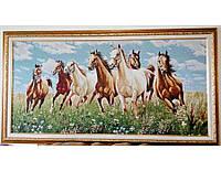 Гобелен в раме Лошади в поле 100*50 см