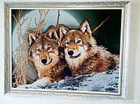 Гобелен в раме Волки и луна 80*60 см