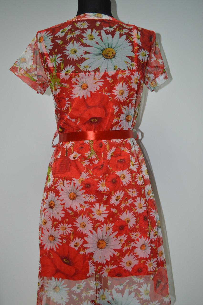 Платье из сетки с цветочным принтом