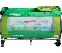 Манеж-кроватка Caretero Medio Classic - green, пеленальный столик, колеса