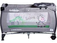 Манеж-кроватка Caretero Medio Classic - grey, пеленальный столик, колеса