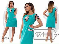 Платье приталенное из костюмки с цветной отделкой из креп-шифона размер 48-54