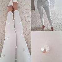 БРЮКИ летние стрейч джинс,чемчуг на клепке 95% cotton 5%elastan 2 цвета дг №4648