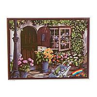 """Картина """"Цветочный дворик"""" по номерам 50*65см, в кор. 66*51см (20шт)"""