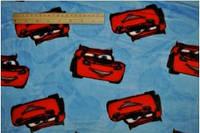 Махра принт красная машинка на голубом оптом