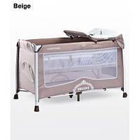 Манеж-кроватка Caretero Deluxe - beige, пеленальный столик, колеса