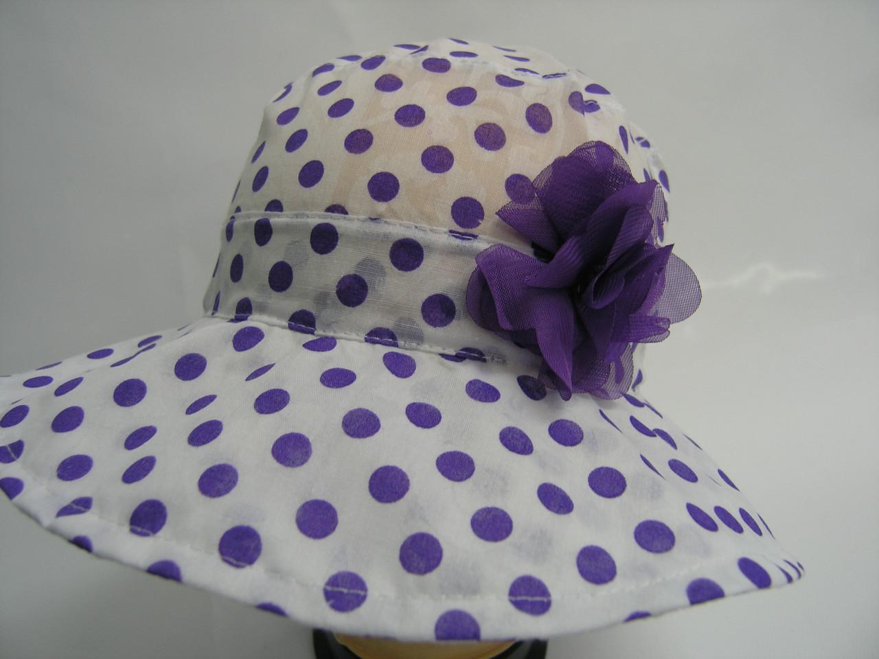 Шляпа -  сиреневый горошек