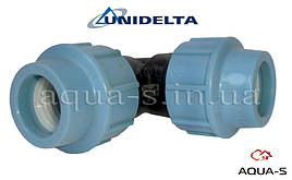 Угольник зажимной Unidelta DN 63x90° для ПЭ-труб (Италия)