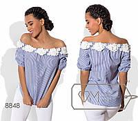 Блузка прямая из коттона с вырезом анжелика, отделанным цветами, рукавами-фонарик размер 42-48