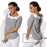 Блузка прямая из коттона с вырезом анжелика, отделанным цветами, рукавами-фонарик размер 42-48, фото 2