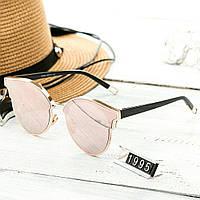 Женские стильные очки капли Hend Made розовые с черными дужками