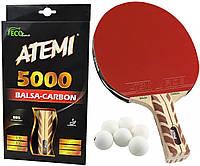 Ракетка для настольного тенниса теннисная ATEMI 5000 Balsa-Carbon