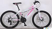 Горный подростковый велосипед 24 дюйма (14 рама) Azimut   CROSSER SWEET (2017 года) бело-розовый***
