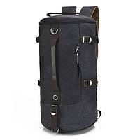 Универсальная сумка трансформер мужская. Рюкзак брезентовый. Черный, хаки и синий, фото 1
